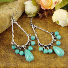 Cute New Fun Tibetan Silver Turquoise Teardrop Bead Long Dangle Drop Earrings