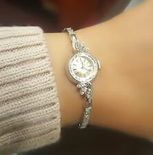 1950's Omega Vintage Antique Diamond Watch in 14KT White Gold