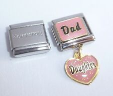 DAD DAUGHTER 9mm Italian Charm + 1x Genuine Nomination Classic Link LOVE HEART