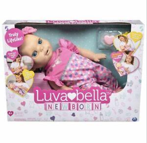 Luvabella Newborn Interactive Baby Doll - Blue Eyes NEW