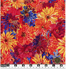 Quilting Fabric Red Yellow Blue Orange Dahlia Flowers Fat Qs 100% Cotton | RF4