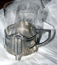 """Antique WMF PEWTER ART NOUVEAU Cup holder and glass dated to """"1914"""""""