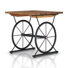 Furniture of America Davide Industrial Metal Wheel Base End Table in Warm Oak