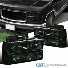 94-99 GMC C10 C/K Sierra Yukon Smoke Headlights Bumper Corner Lamps Left+Right