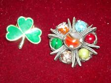 vintage scottish scotland Celtic Miracle art glass agate brooch pin