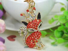 Crown Fox Keyring Rhinestone Crystal Jewelry Women Bag Key Chain Pendant Gift