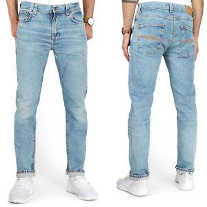 Nudie Mens Slim Tapered Fit Organic Stretch Denim Jeans Light Blue | Lean Dean