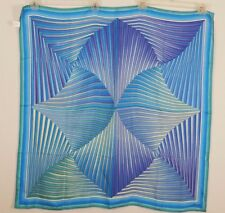"VAKKO 100% silk Geometric styled 35 ""x 34"" blue multi-colored Large Scarf"