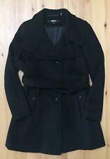 DKNY Women's Long Black Wool Blend Peacoat Coat Jacket Tie Belt Button Sz 2