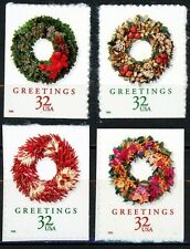 1998 Christmas Wreaths Complete Set of 4 from Pane of 20 Scott's 3249a to 3252a