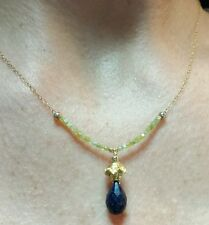 1ct yellow canary Diamond 4ct pear Sapphire briolette 14k gold pendant necklace
