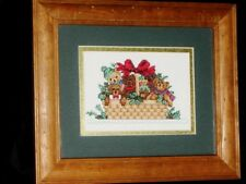 "Hand Made Vtg Christmas Cross Stitch Framed Glass Completed 10.5"" X 12.5"" Bears"