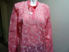 NUEVO India CHIKAN Lucknow 100% COTTON Mujer Rosa Blanco Con Cuello Blusa para