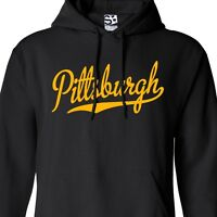Pittsburgh Script HOODIE Hooded Sweatshirt Sports Ball Team - All Sizes & Colors