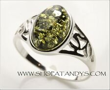 STUNNING GENUINE BALTIC AMBER 925 STERLING SILVER RING SIZE 7
