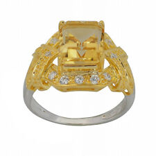 Zirconia Two-tone Sterling Silver Ring, Size7 De Buman Rectangle Citrine & Cubic