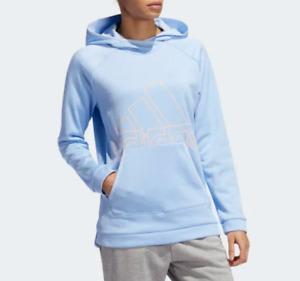NWT S4 adidas EI8348 Women's TI BOS hoodie Sweatshirt Blue Peach Big Logo