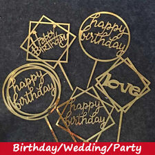 Cake Topper Birthday Party Happy Decoration Acrylic Supplies New Glitter Gold UK