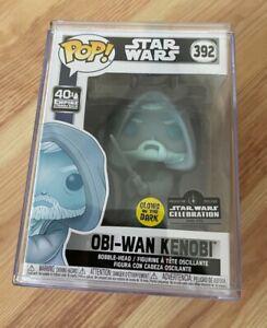 Star Wars Celebration Obi-Wan Kenobi Glow GITD #392 Funko Pop 1/3000 + Hardstack