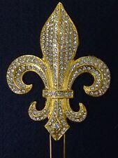 Large Rhinestone GOLD Fleur De Lis Mardi Gras Saints Cake Topper Decoration