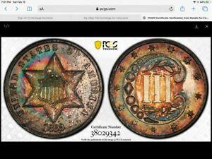 1869/8 Three Cent Silver Gem Proof,  PCGS PR-65