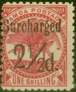 Samoa 1898 2 1/2d on 1s Dull Rose-Carmine SG86 Fine Mtd Mint (26)