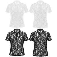 Spitze Shirt Hemd Herren Transparente Umlegekragen Kurzarmhemd Tops Schwarz Weiß