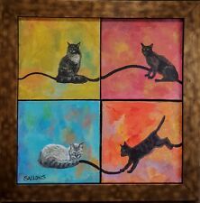Original Art Oil Painting 16x16 Unique Cat Lovers Feline Multiple Piece Framed