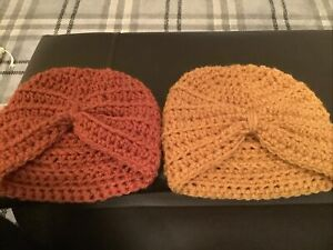 Hand Crochet Newborn Baby Girls Turban Hat