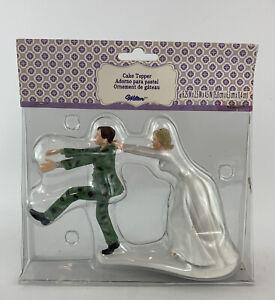 Bride Stopping Runaway Groom Camo Cake Topper Funny Wedding Figurine 2013 Wilton
