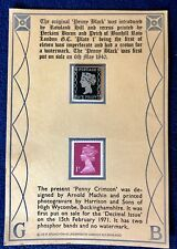 Commemorative Steel Reproduction of Penny Black Uk 1st Adhesive Postage Stamp