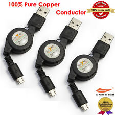 3-Pack High Speed Retractable Sync & Charge Micro-USB Data Cable Charger