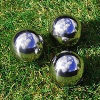 Set of 3 9cm Stainless Steel Sphere Garden Ornaments Mirror Gazing Balls