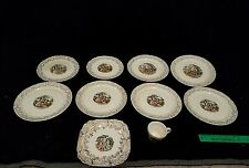 Vintage Eastern China NY 22K Gold Colonial China, 9 Dishes, 1 Cup, Made in USA