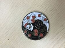 SKULL WITH ROSES CHINESE YIN - YANG 1 3/4 inch 2 POST  GRATEFUL DEAD RELIX PIN