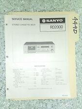 Sanyo rd-2000 service manual original repair book stereo tape deck player