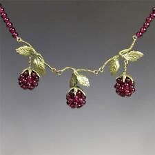 Michael Michaud Silver Seasons Garnet Raspberry Beaded Necklace Handmade in USA