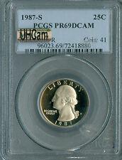 1987-S WASHINGTON QUARTER PCGS MAC PR69 UHCam ULTRA HEAVY CAM *