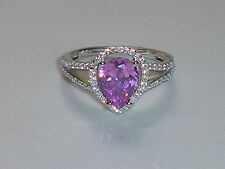 Hand Made Ladies Hallmarked 925 Solid Silver White and Pink Sapphire Ring