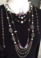 Pink Purple Tones Necklaces Beads Bracelets Costume Jewellery Bundle Joblot  R1