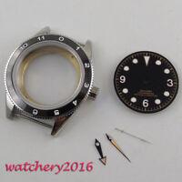 41mm Sapphire Glass Watch Case + Black Dial + hands Fit ETA 2824 2836 Movement