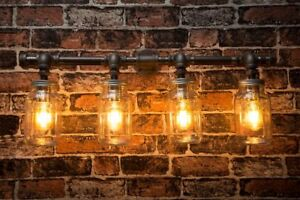 Industrial black iron wall pipe Kilner Lighting Chandelier - choice of sizes