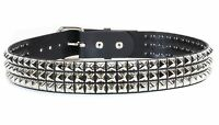 Three Row Pyramid Stud Belt Premium Leather Handmade Punk Goth Rockabilly Metal