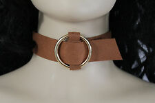 Fashion Necklace Gold Metal Ring Fun Women Brown Faux Leather Fabric Wide Choker
