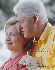Bill Clinton & Hillary Clinton Hand Signed 8x10 Photo, Autograph, USA President