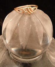 14k Solid Yellow Gold Diamond Cut Fancy Heart Ring Sz 6.5 & 1.3g