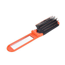 1x Portable Travel Folding Hair Brush With Mirror Compact Pocket Size Comb SW Orange