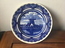 Blue Delft Dutch Holland Plate with Windmill & Countryside Marked OT.S 20cm/8''
