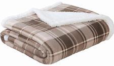 "Sedona House Sherpa Fleece Plaid Throw Blanket Size 50""x60"", Brown"