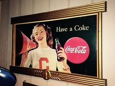 Coca Cola Coke Cardboard Poster Litho Display Sign w/ Kay Frame Cheerleader